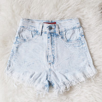Noemi Distressed High Waist Shorts (Light Wash)