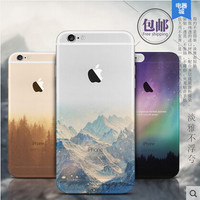 Ultra Thin Soft Silicon Mountain Case Cover For Apple iPhone 6 6S Case Luxury 6 Series Fashion Transparent Back Cover For Phone