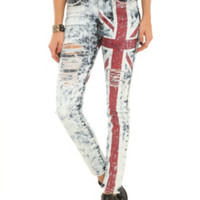 Machine Union Jack Bling Destroyed Jeans