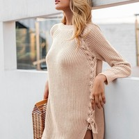 Oversized Side Tie Knit Pullover