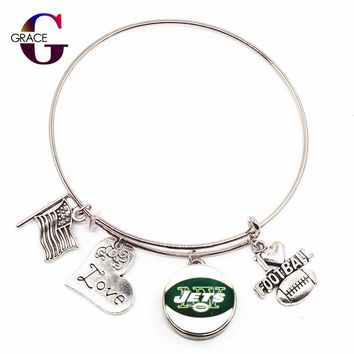 New York Jets Adjustable I Love Football Expandable Women&Men Bangle Bracelets With Ginger Snaps Buttons Jewelry Sports Charms