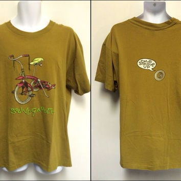 SOUNDGARDEN 1994 Vintage T-shirt/ Original PUSHEAD Kickstand TRICYCLE Sparkly Shirt/ Seattle Alternative Rock Band Chris Cornell