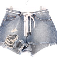 Off White Belted Denim Shorts