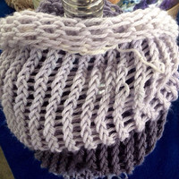 White and Grey Ombré Infinty Scarf Hand Crochet