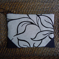 Black and natural clutch, flocked clutch, suede clutch, flocked black clutch, clutch purse,clutch bag, pouch, handbag, tote