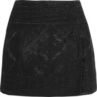 Isabel Marant - Andy embroidered silk-georgette wrap mini skirt