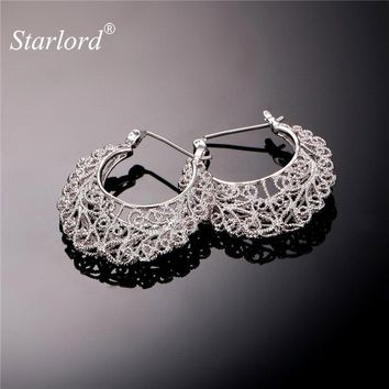 Starlord Hollow Hoop Earrings For Women Gold Color Earing Trendy Jewelry 48MM Hoop Earrings Vintage E6771
