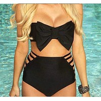 High Waist Bikini Bow Strapless Swimsuit Swimwear Beachwear
