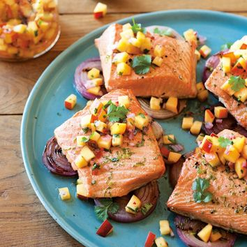 Grilled Salmon and Red Onions with Nectarine Salsa | Williams-Sonoma
