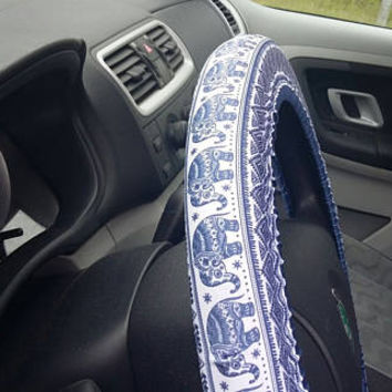 Steering wheel cover with elephants Beautiful car accessory for woman man Great gift for her One size fit to all Cute blue  car decoration