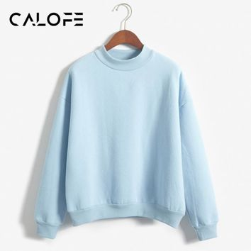 CALOFE 2018 Spring Women Running Top Long Sleeve Fleece Pullovers Sport Shirts Sweatshirts Round Collar Candy Colors Sweatshirt