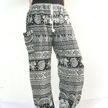 hippie clothing peacock design elastic waist Aladdin Pants/Yoga pants/Harem pants/elephant thai pants/boho pants/gypsy pants - Dark color