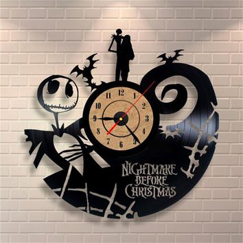 2017 Hot Vinyl Record CD Wall Clock Antique Style Nightmare Before Christmas Film Theme Art Clock Quartz Watch Saat Home Decor
