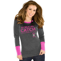 Touch by Alyssa Milano Pittsburgh Steelers Ladies Breast Cancer Awareness Quick Pass Long Sleeve Thermal T-Shirt - Black