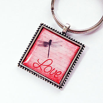 Keychain, Key ring, keyring, Key chain, dragonfly key ring, stocking stuffer, Dragonfly, Love, Love key chain, love key ring (4387)