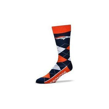 NFL Denver Broncos Argyle Unisex Crew Cut Socks - One Size Fits Most
