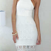 White Halter Backless Sheer Lace Hem Bodycon Midi Dress