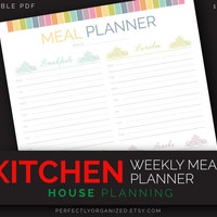 Weekly Meal Menu Planner, Meal Plan, Printable Menu || Kitchen Printable Planner, DIY Pastel Binder Organizer || Household PDF Printables