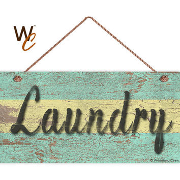"Laundry Sign, Distressed Wood Style, Green and Yellow, Wall Art, Cleaning Sign, Laundry Room, Weatherproof, 5"" x 10"" Sign, Made To Order"