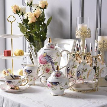 Elegant Pastoral Bird Bone China Coffee and Tea Set