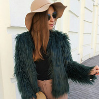 Fluffy Shaggy Boxy Short Faux Fur Over Coat
