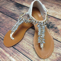 CRYSTAL TRAILS SANDALS IN WHITE