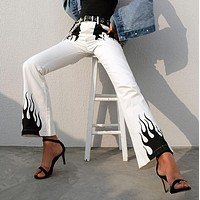 Flame Printed Wide Legged Denim