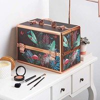 "Beautify Large Jungle Professional Makeup Cosmetic Organizer Train Case 14"" Lockable Storage Box with Rose Gold Handles"