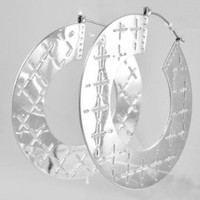 Silver Cross Hoops