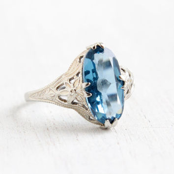 Vintage 14k White Gold Filigree Aquamarine Blue Ring- Antique Size 6 1/2 Art Deco 1920s Flower Filigree Ring