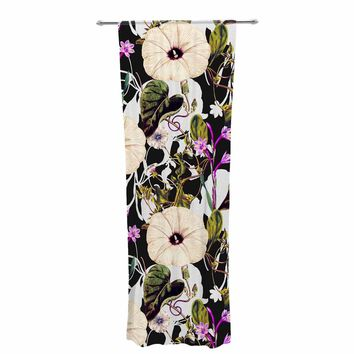 "mmartabc ""Abstract Blooming Botanic"" Purple Multicolor Floral Nature Illustration Watercolor Decorative Sheer Curtain"