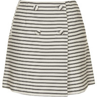 Striped Button Wrap Skirt - Cream