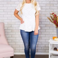 Peplum Lace Up Back Top- White