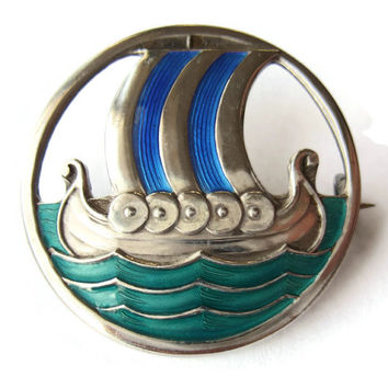 Rare vintage David Andersen enamel & sterling silver Viking ship brooch, 1920s or 1930s David-Andersen, blue green guilloche enamel, #207a.
