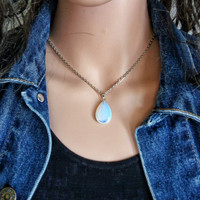 OPALITE MOONSTONE PENDANT Teardrop Gemstone Necklace Healing Necklace Stone Necklace Opalite Teardrop Jewelry Opalite Pendant Moonstone