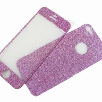 Full Body Matte Glitter Screen Protector Sticker for iPhone 5 Purple
