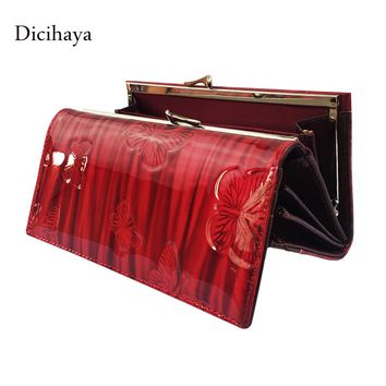 Dicihaya Women's Wallets Women Cowhide Leather Wallet Butterfly Design Ladies Clutch Patent Leather Purses Long Card Holder