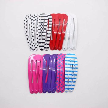 20 pcs/lot hairpins solid striped dot printed hair clips simple barrettes daily using hair accessories for girls