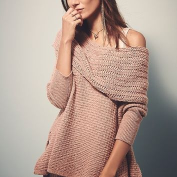 Casual Knitted Off Shoulder Three Fourth Sleeve Sweater