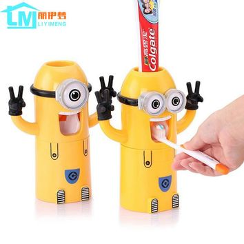2016 newest Products Cute Minions Design Set Cartoon yellow doll Toothbrush Holder Automatic Toothpaste Dispenser toothpaste