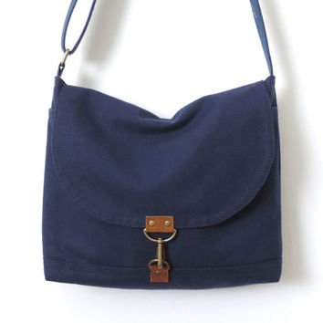 Canvas Messenger Bag Satchel Crossbody Bag Blue