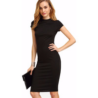 Cap Sleeve Crew Neck Business Casual Dress