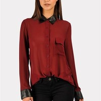 Leila Leather Trim Top - Burgundy at Necessary Clothing