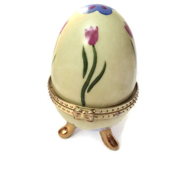 Faberge Style Egg Casket Box, Tinket Box, Ring Holder Yellow and Gold Three Footed Porcelain Egg with Flowers