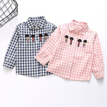 Fashion Autumn Children Kids Girls Boys Baby Long Sleeve Plaided Checked Cartoon Casual Shirts Blouse Tops S5586