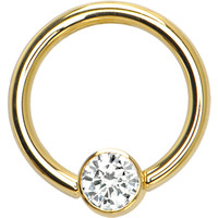 Solid 14KT Yellow Gold Clear 4mm Bezel-Set Cubic Zirconia Captive Ring | Body Candy Body Jewelry