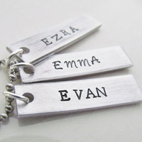 Name Necklace 4 Tags Hand Stamped Personalized Jewelry Couples Charm Necklaces Aluminum Personalized Stainless Steel Chain