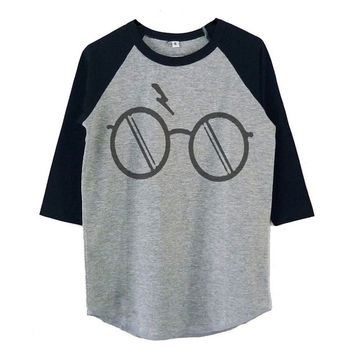 Eyeglass Harry Potter shirt raglan shirt for kids toddlers boys girls tops Baby clothes **Halloween shirt