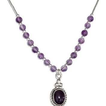 "Sterling Silver 16"" Southwest Liquid Silver Oval Amethyst Necklace"