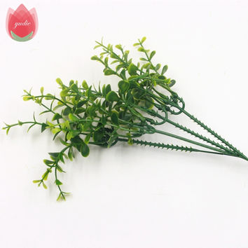 1Pcs Hight Quality Plastic Weed Branches Artificial Flowers Bouquet Twigs Rod Fake Leaf Wedding Home Party Aquatic Decoration